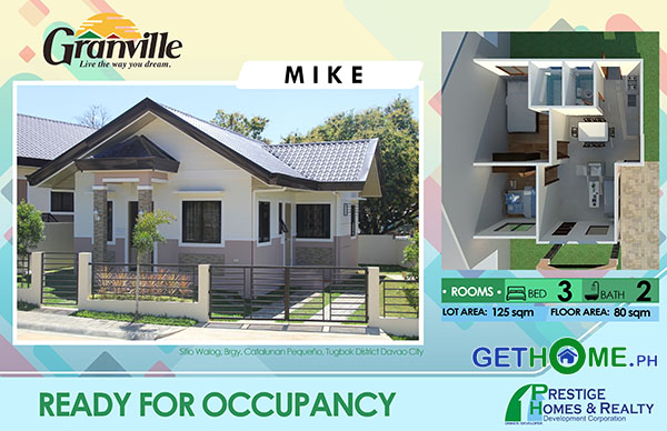 Granville 1 Ready to Occupy Catalunan Pequeno House and Lot Davao City GetHomePh House Mike model