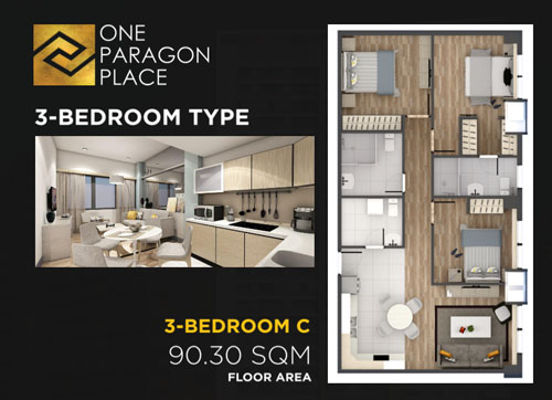 3 bedrooms floor plan the paragon place matina davao condo
