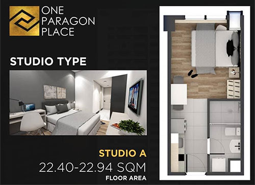 studio floor plan the paragon place matina davao condo